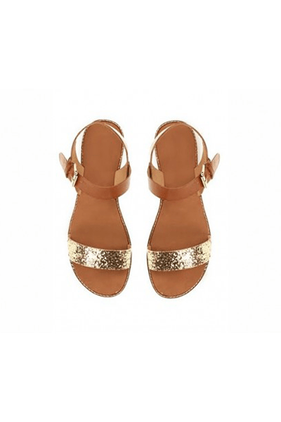 Golden Shine Flat Sandal