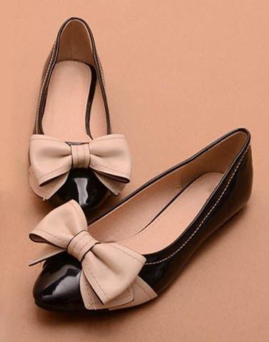 Beige And Black Glossy Ballerinas
