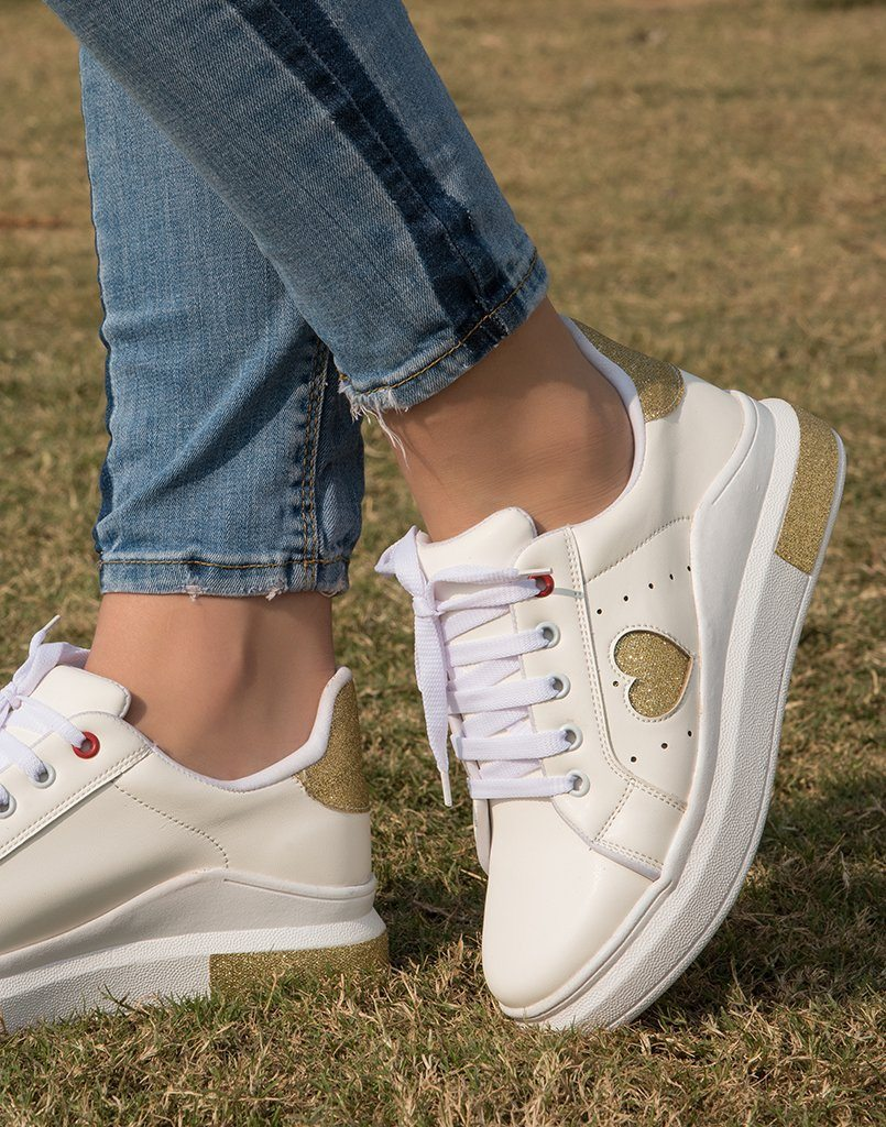 Gold Hearts Paired Sneakers