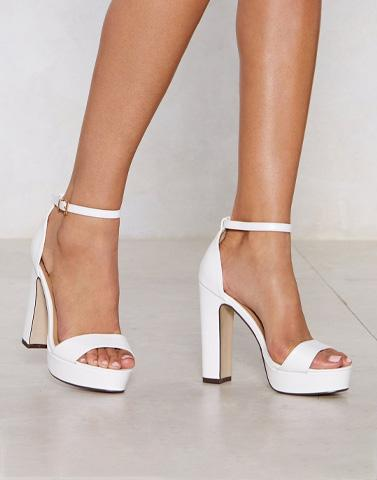 Fashion White Block Bae Heels