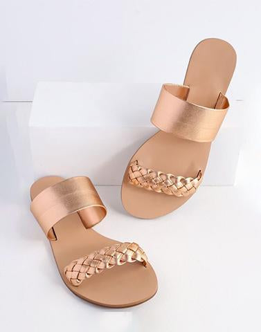 Woven Strappy Rose Gold Flats