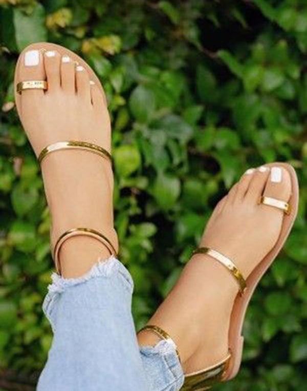 Trendy Gold Ring-Toe Flats