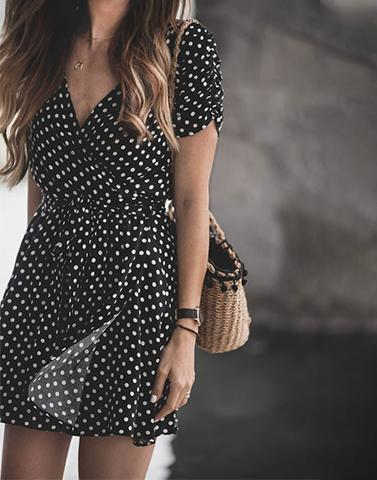 Round-Up Polka Black Dress