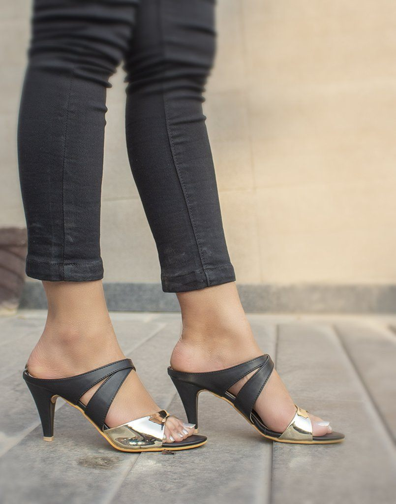 Black And Gold Cone Heels