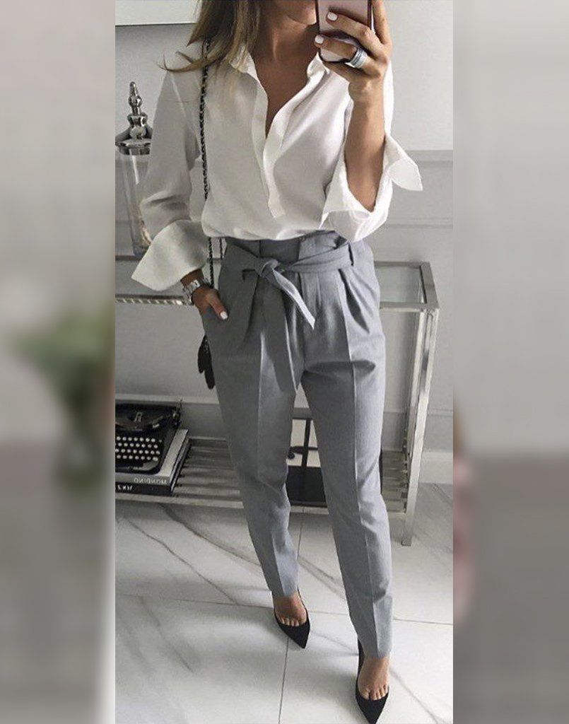 Lady Boss White And Grey Set