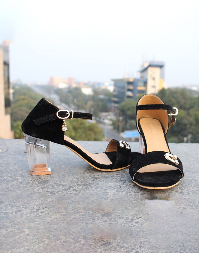 Black Embellished Block Heels