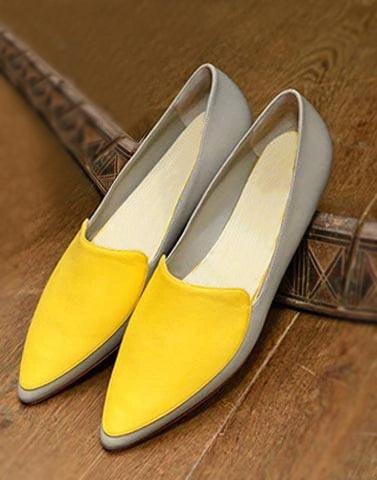 Grey Footwear With Yellow Detailing