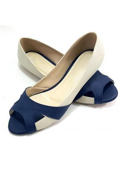 Open Toe Blue Beige Flats