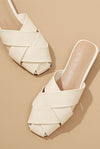 Beige Cross Tape Flats