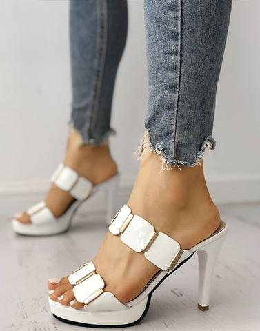 Metallic Diva White Heels