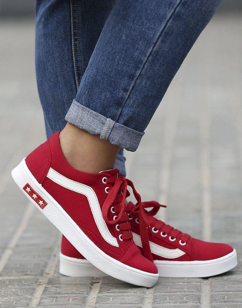 Superior Red Lace Up Sneakers