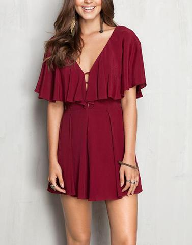 Crimson Maroon Ruffled Jumpsuit