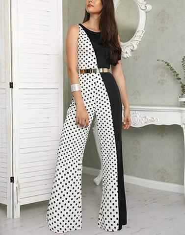 Black And White Partition Jumpsuit