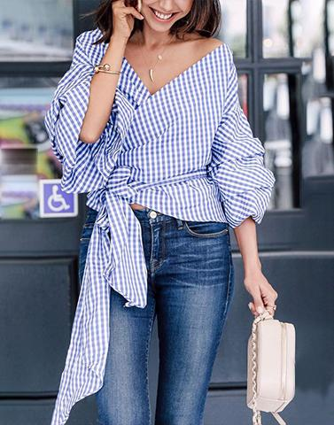 Happy Vibes Blue Checkered Top
