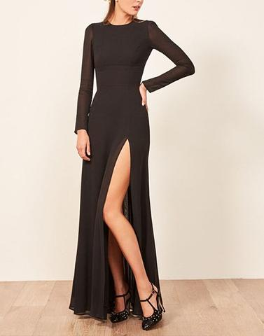 Long Sleeves Black Slit Dress