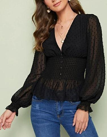 Black V Neck Puff Sleeves Top