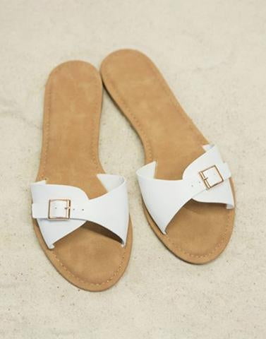 White Belt n Buckle Slip Ons