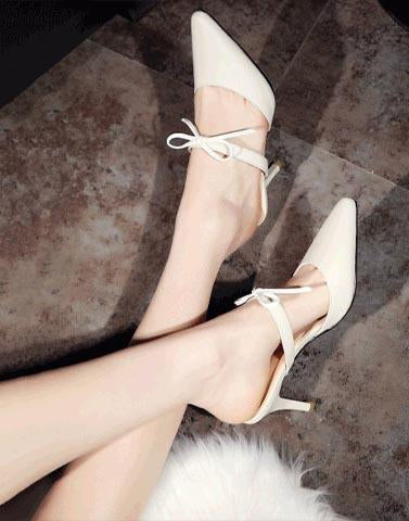 Tie Up Mary White Heels