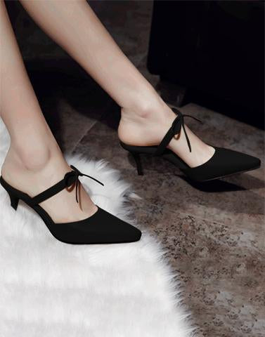 Tie Up Mary Black Heels
