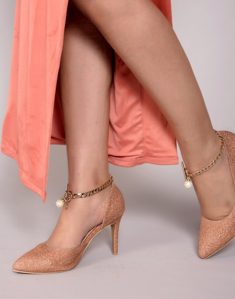 Chunky Chains Rose Gold Heels