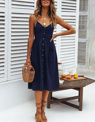 Day Out Buttoned Blue Dress
