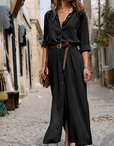 Around The Street Black Shirt Dress With Belt