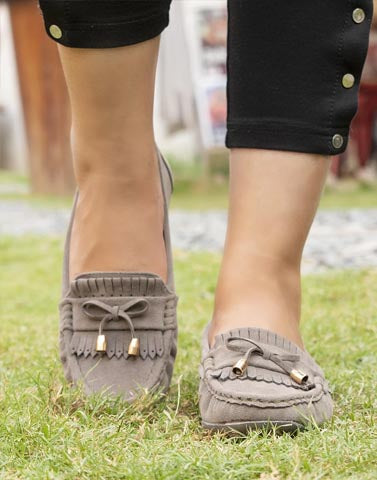 Blissful Bows Grey Moccasin