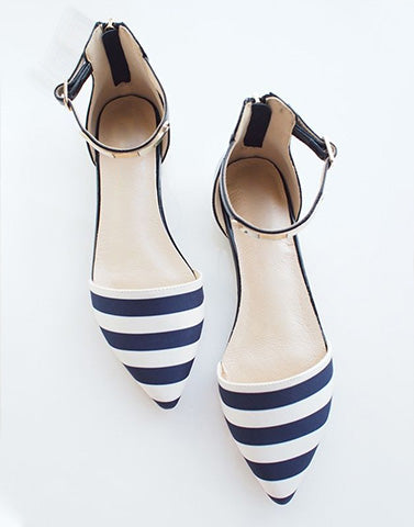Pointed Blue White Stripes Flats