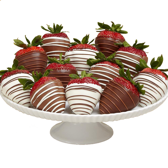 12 Gourmet Dipped Swizzled Strawberries