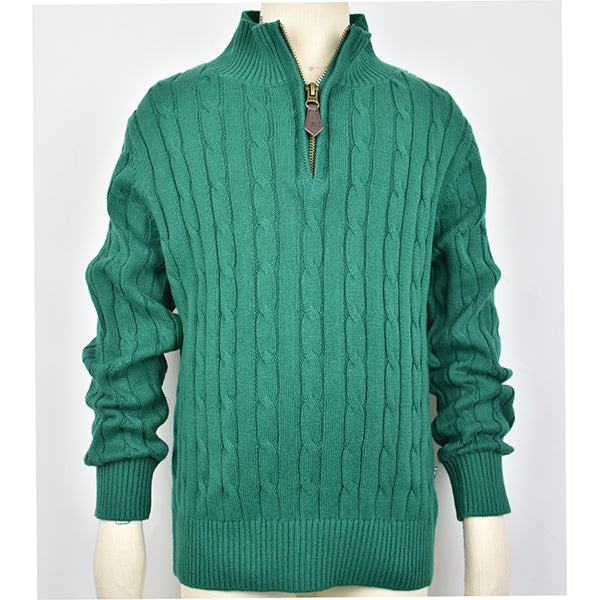 Boy's Green 1/4 Zip Cable Sweater