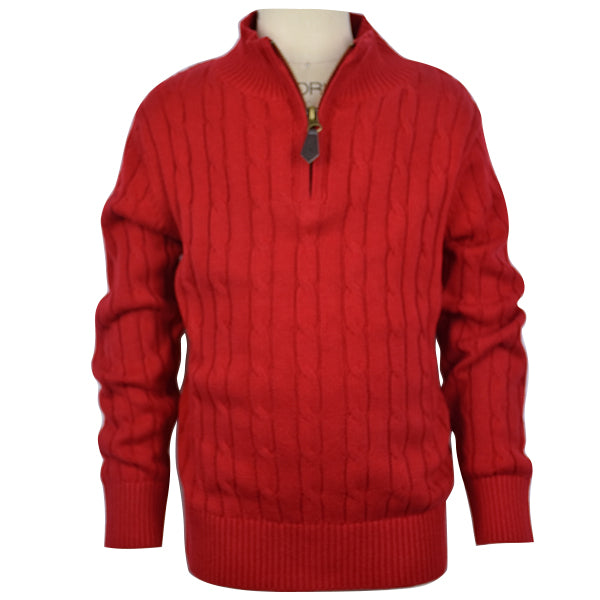 Boy's Red 1/4 Zip Cable Sweater