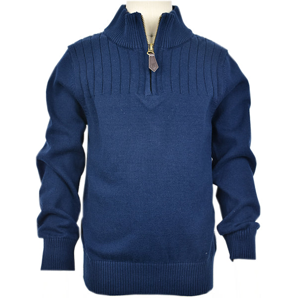 Boy's Navy 1/4 Zip Cable Sweater