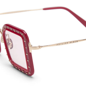 philipp plein, philipp plein eyewear, philipp plein sunglasses, xeyes sunglass shop, luxury, luxury sunglasses, fashion, fashion sunglasses, gold sunglassses, women sunglasses, square sunglasses, red sunglasses, studs