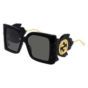 GUCCI SUNGLASSES, GG0535S, BLACK OVERSIZED SUNGLASSES, GUCCI LOGO, GUCCI HOLLYWOOD