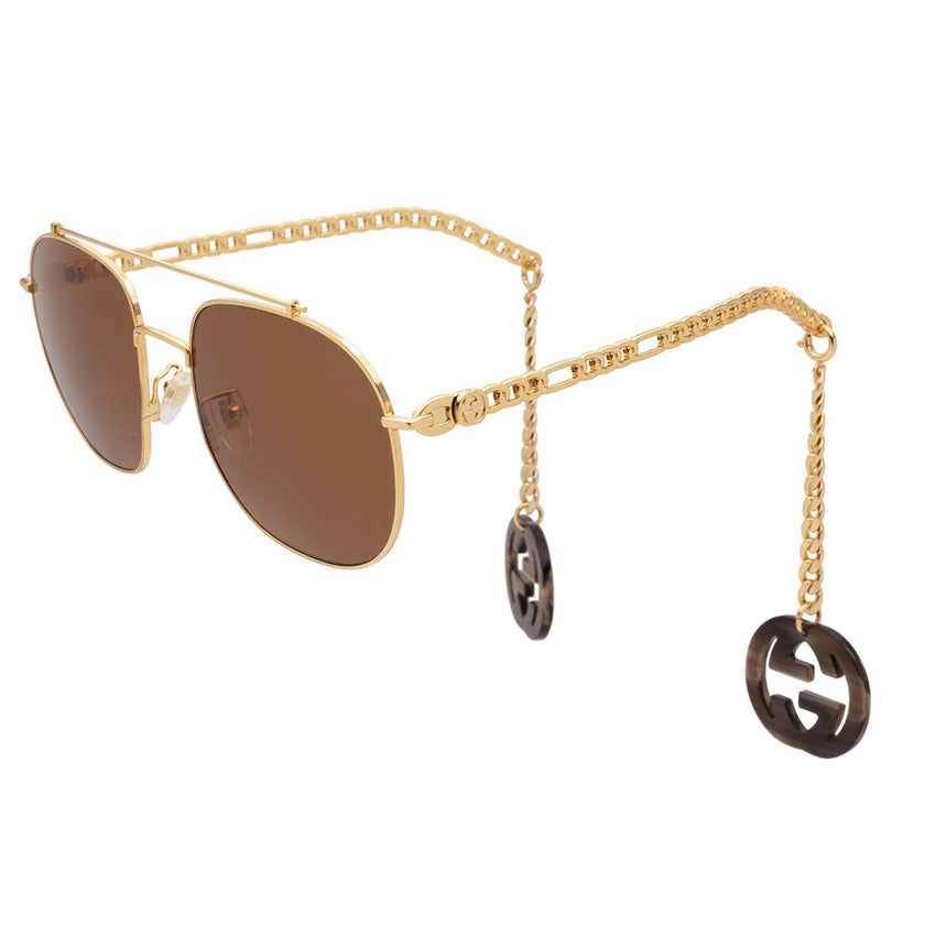 gucci, gucci eyewear, gucci sunglasses, xeyes sunglass shop, women sunglasses, fashion, fashion sunglasses, aviator sunglasses, gold sunglasses, gg0727s, metal sunglasses, charm