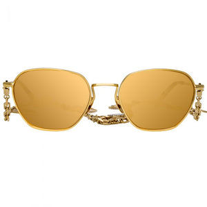 Linda Farrow, Alessandra Rich, 24k gold, Octagonal gold mirror sunglasses, Sunglasses, Women Sunglasses