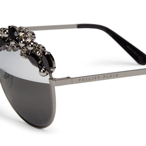 philipp plein, philipp plein eyewear, philipp plein sunglasses, xeyes sunglass shop, luxury, luxury sunglasses, fashion, fashion sunglasses, women sunglasses, aviator sunglasses, silver sunglasses, precious stones