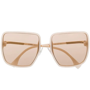 fendi sunglasses, fendi eyewear, xeyes sunglass shop, women sunglasses, fashion, fashion sunglasses, fendi, oversized sunglasses, square sunglasses, FF0402/S, crem colour fendi glasses