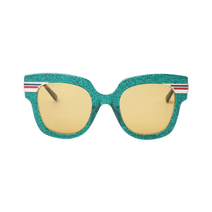 gucci sunglasses, glitter glasses, green sunglasses, light orange lenses, gucci glasses, xeyes sunglass shop, luxury glasses, trend sunglasses