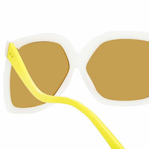 Oversized white sunglasses, yellow wavy temples, linda farrow glasses, linda farrow luxury glasses, linda farrow, luxury, white big women glasses, oversized square glasses, dare linda farrow, dare white glasses, lfl981 dare