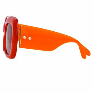coral sunglasses linda farrow glasses, linda farrow luxury glasses, linda farrow, luxury, orange big women glasses, oversized square glasses, linda farrow, xeyes, xeyes sunglass shop linda farrow, linda farrow, lfl995 coral women sunglasses, orange glasses, lfl955 orange