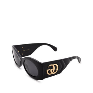 black cat eye glasses, gucci cat eye, black gucci sunglasses, small butrfly glasses, xeyes sunglass shop, black glasses, GG0810S, big gucci logo, black and gold sunglasses