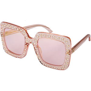 gucci, gucci eyewear, gucci sunglasses, xeyes sunglass shop, women sunglasses, fashion, fashion sunglasses, gucci hollywood, glitter on sunglasses,  square sunglasses, pink transparent sunglasses, gold sunglasses, oversized sunglasses, GG0148S