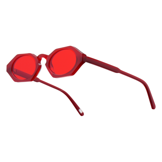 red octagonal sunglasses, chimi sunglasses, red lenses, xeyes sunglass shop