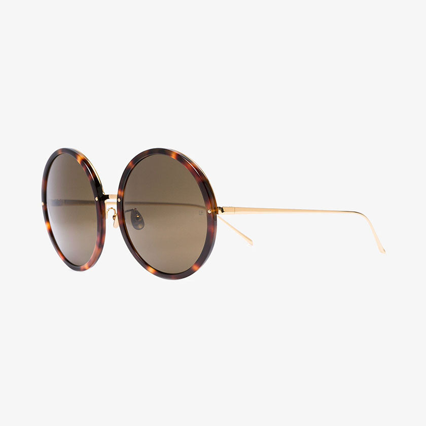 linda farrow, linda farrow eyewear, linda farrow sunglasses, xeyes sunglass shop, fashion sunglasses, oversized sunglasses, round sunglasses, gold sunglasses, luxury eyewear, luxury, fashion, 18-22 karat gold, titanium sunglasses
