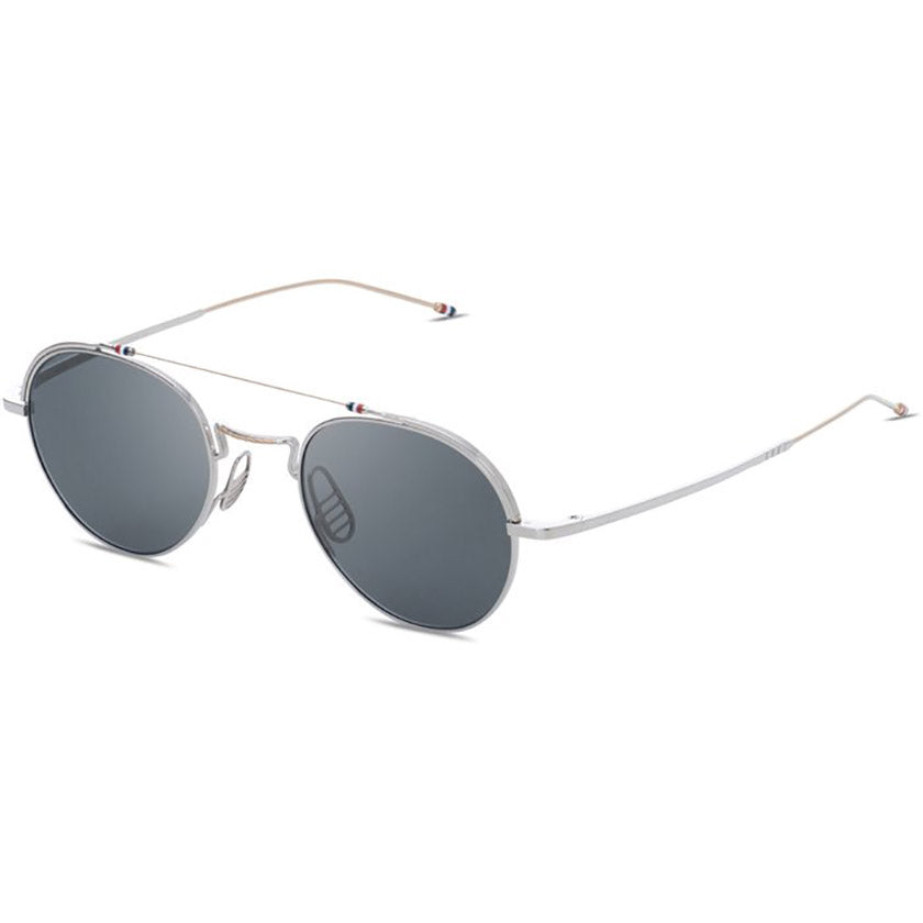thom browne, thom browne eyewear, thom browne sunglasses, xeyes sunglass shop, titanium, titanium sunglasses, luxury, luxury sunglasses, fashion, fashion sunglasses, men sunglassses, women sunglasses, round sunglasses, silver sunglasses