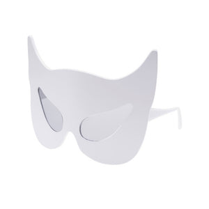 luella x linda farrow white cat mask collaboration, linda farrow gallery, luella x linda farrow, batman white glasses, baman glasses, catwoman sunglasses, eyes sunglass shop