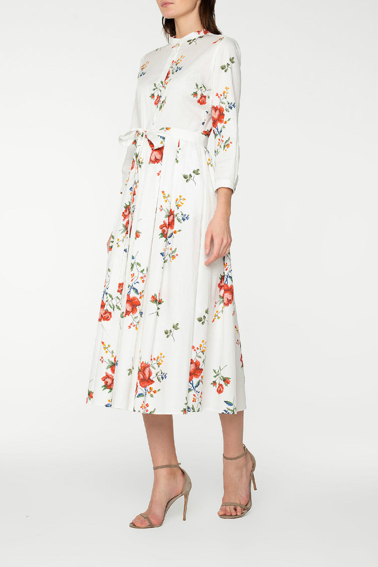 Floral print cotton midi dress
