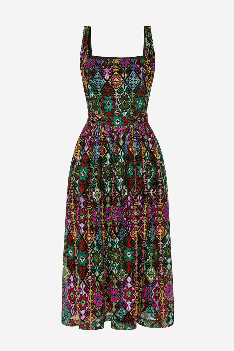 Multicoloured embroidery midi dress - Dresses - TEREKHOV GIRL - SELFIE STORE BARCELONA S.C.P.