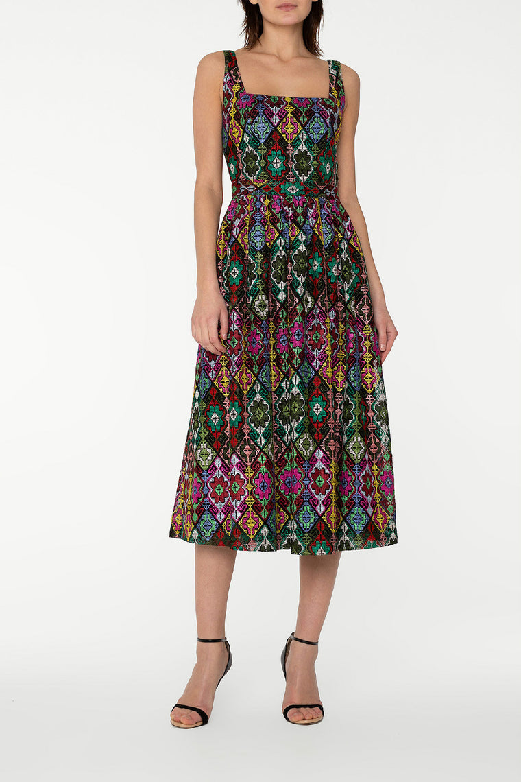Multicoloured embroidery midi dress